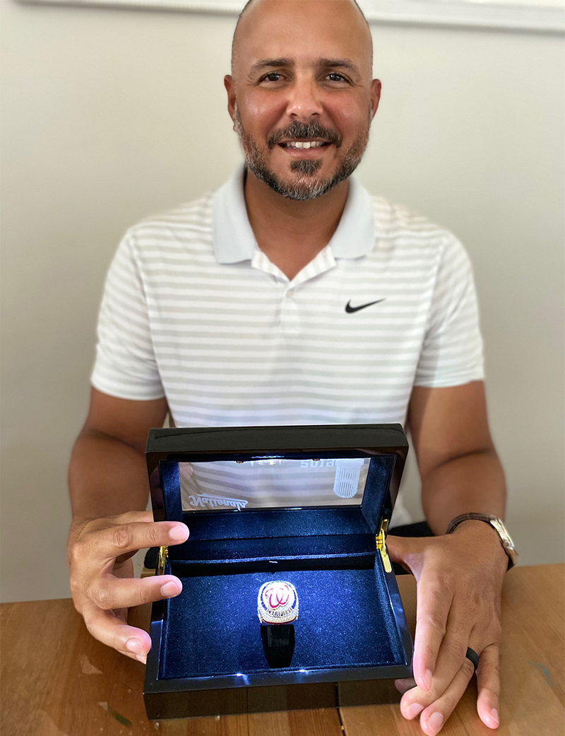 Pictured is SAEM alumnus Fausto Severino with the Washington Nationals World Series Championship ring.