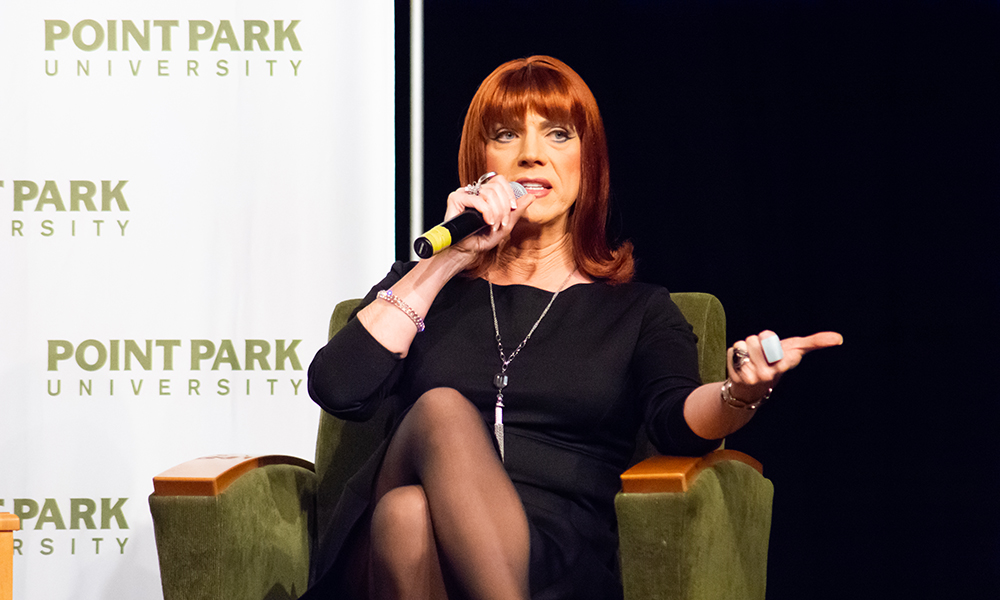 Pictured is Miss Coco Peru at Point Park University. Photo by Brandy Richey