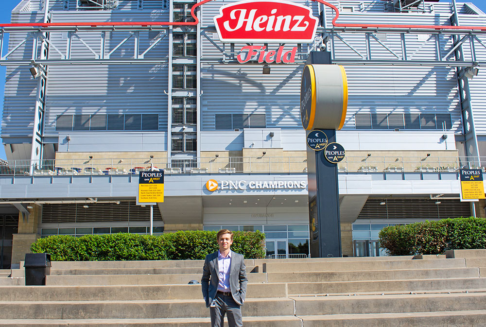 Pictured is SAEM major Mitchum Donatelli outside of Heinz Field. Photo by Brandy Richey.
