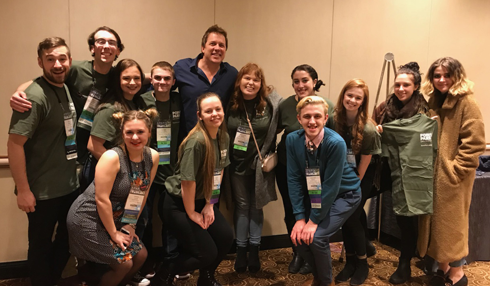 Pictured are SAEM students with Mike Super at the APAP conference. | Photo by David Rowell