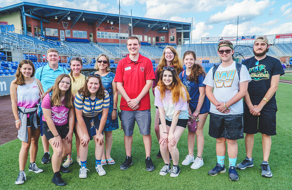 On field at the Washington Wild Things game and behind-the-scenes tour with Craig Lion, creative services and production manager.