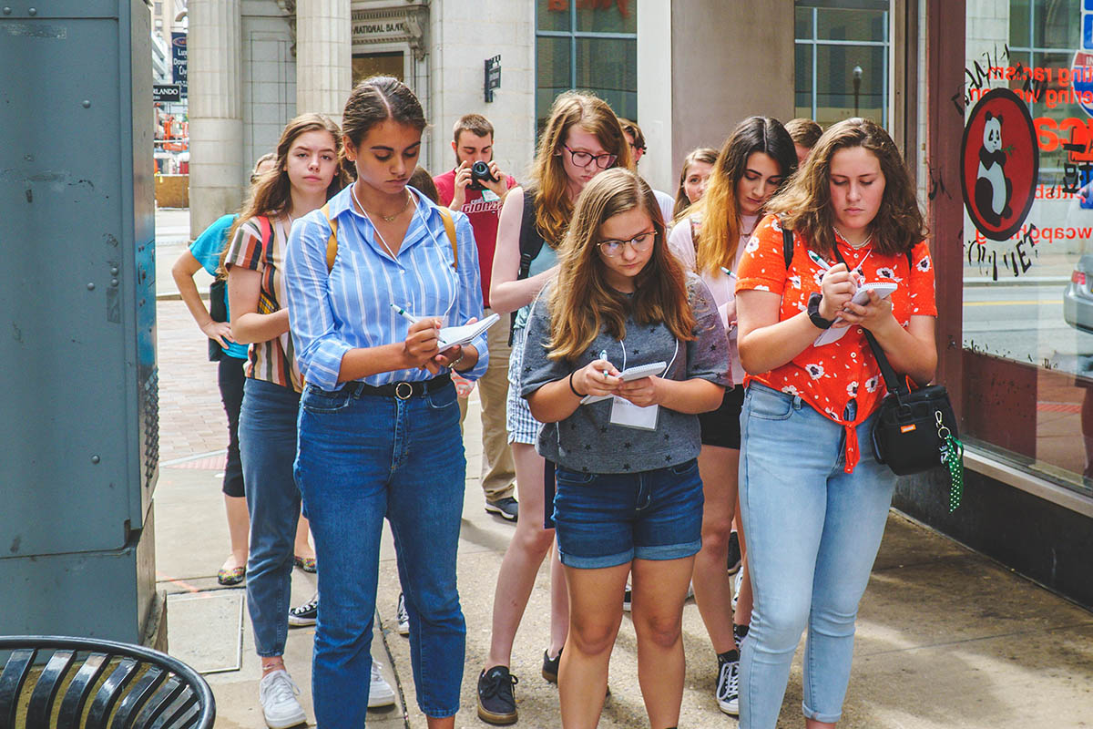 High school students ventured through Downtown Pittsburgh to work on their stories.