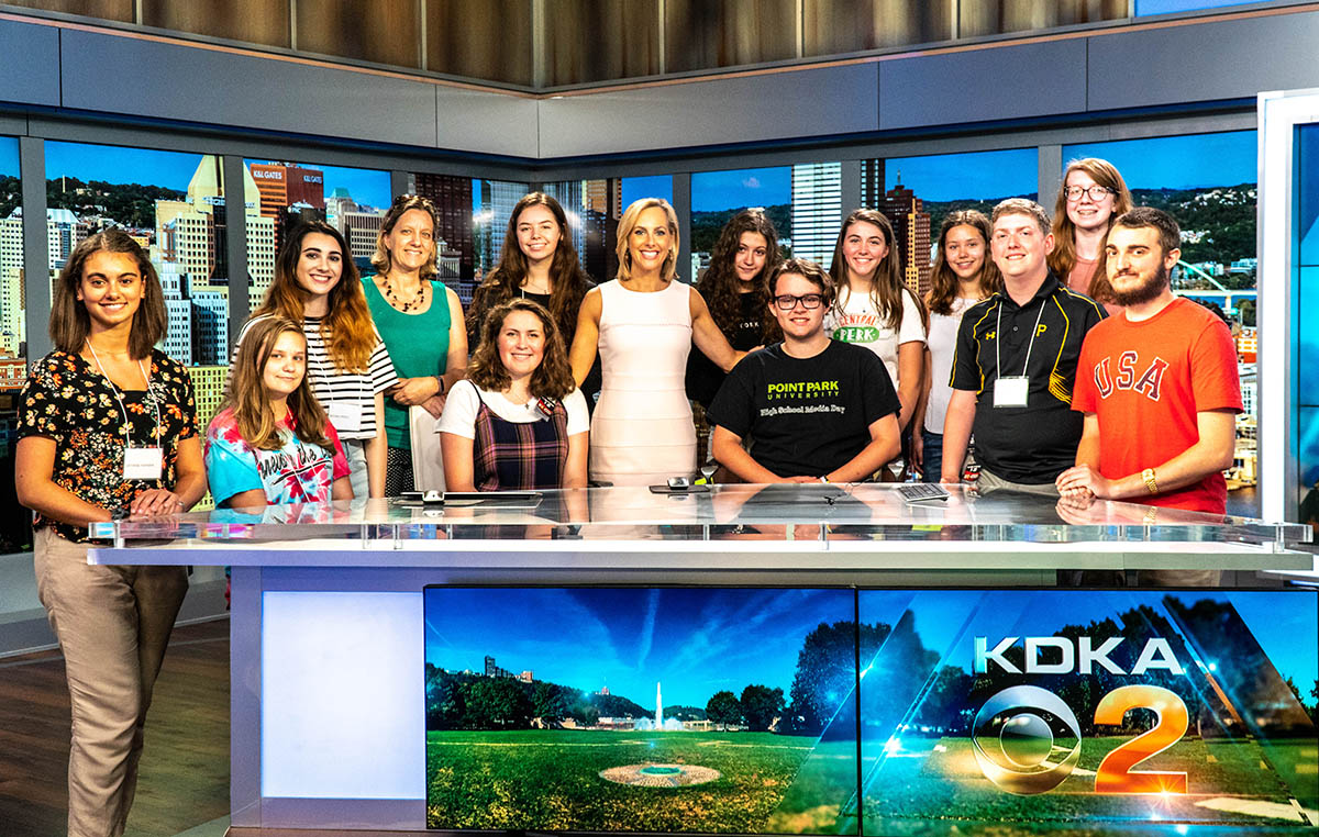 High School students at KDKA during Point Park's Summer Journalism Workshop. Photo | Emma Federkeil