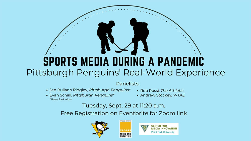 "A flier for ""Covering Sports Media During a Pandemic, presented by the Center for Media Innovation and Pittsburgh Center for Sports Media and Marketing."