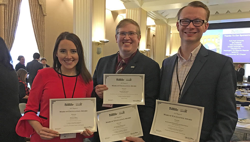 Point Park University's Nikole Kost, Alexander Popichak and Josh Croup at the Society of Professional Journalists Conference at Point Park. Photo | Aimee-Marie Dorsten