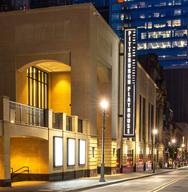 The Pittsburgh Playhouse at night. Photo | John Altdorfer