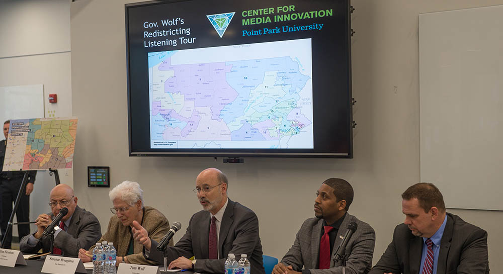 Gov. Tom Wolf visited Point Park University for public session on redistricting. Photo | Chris Rolinson