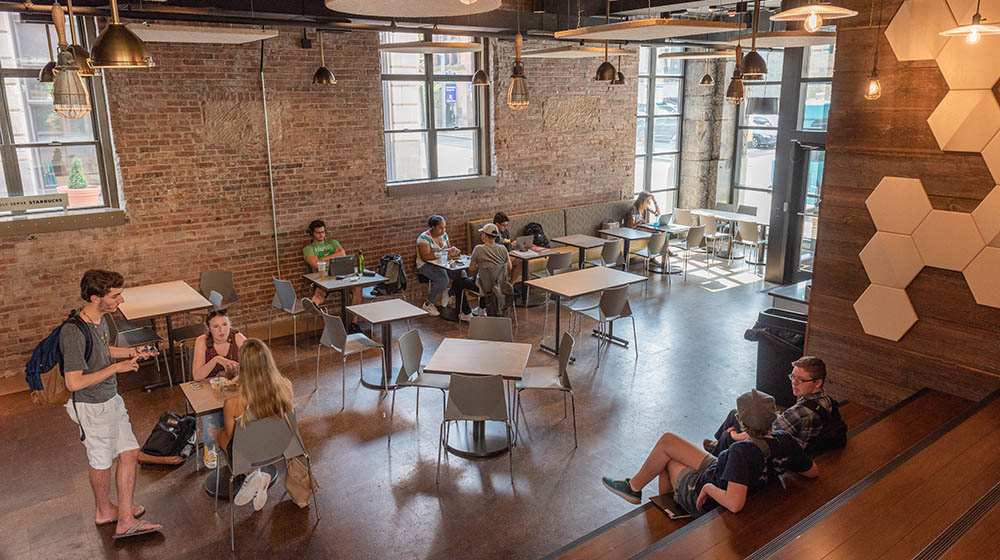 An interior photo of Point Perk, the University's new on-campus coffeehouse. Photo | Nick Koehler