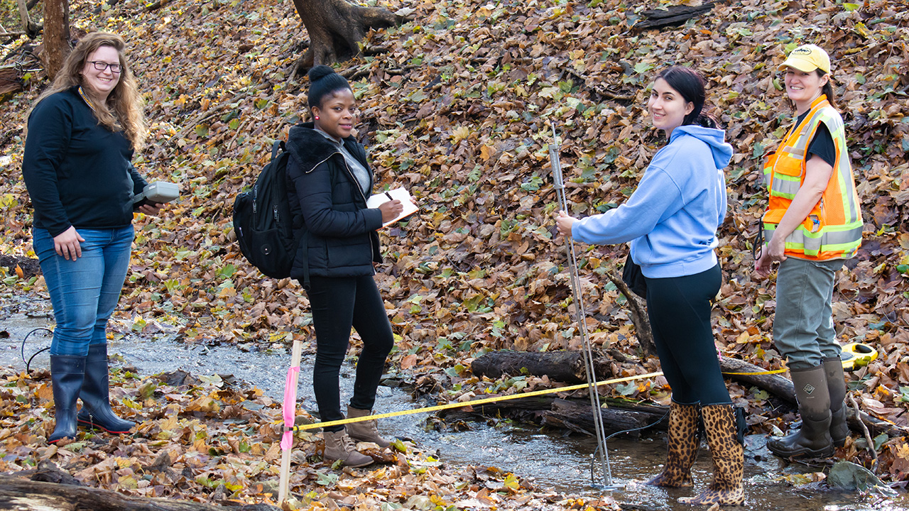 Pictured are M.S. in environmental studies students at Schenley Park. Photo by Brandy Richey
