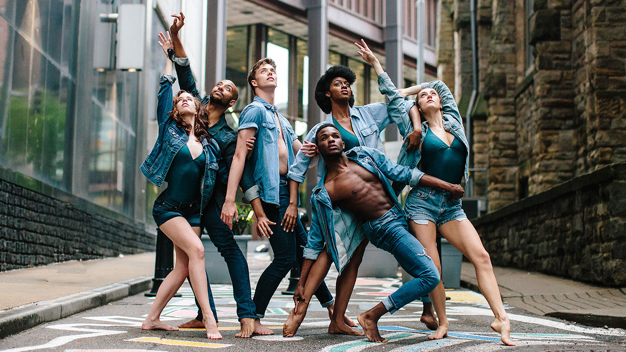 Point Park University Dance Students pose in a Pittsburgh street.