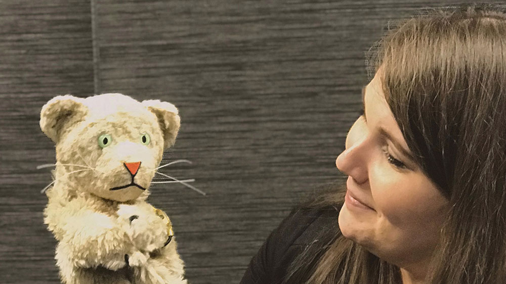 Missy Finnell and tiger puppet